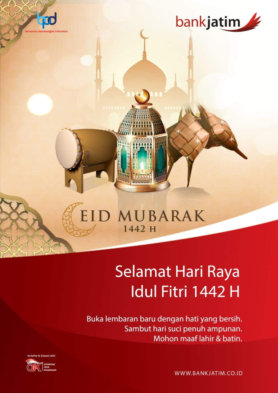 Bank Jatim Mengucapkan Selamat Hari Raya Idul Fitri 1442 H